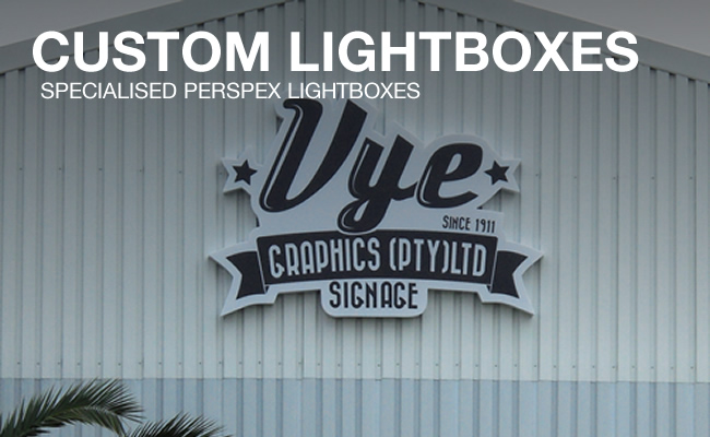 This picture is a version of a custom perspex lightbox that Vye Graphics can design for your company.