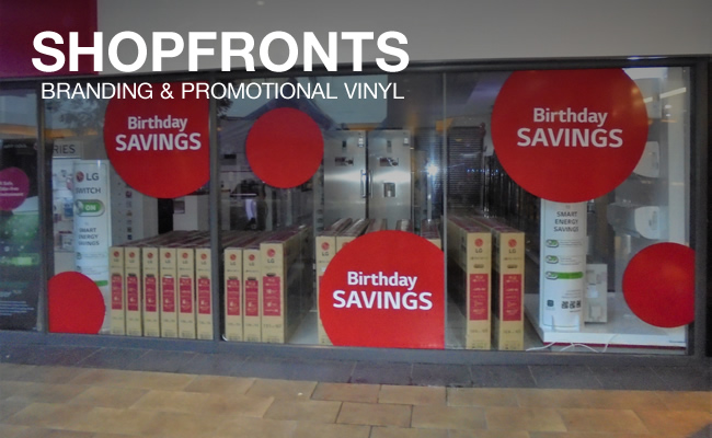 This is an example of the branding and promotional signs that Vye Graphics can create and can be used in shopfronts to advertise your own products.