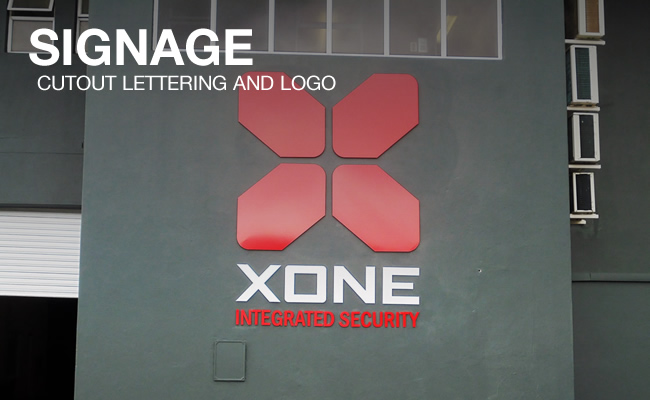 This is a cutout lettering and logo design done for the company Xone, by the professional design brand Vye Graphics.