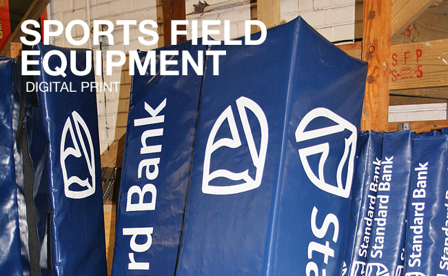 This is a picture of Sports Field Equipment, with Digital Printed written under the main heading.