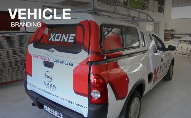 This is another example of Vye Graphic's vehicle branding, this time done on a Opel bakkie for the company Xone.