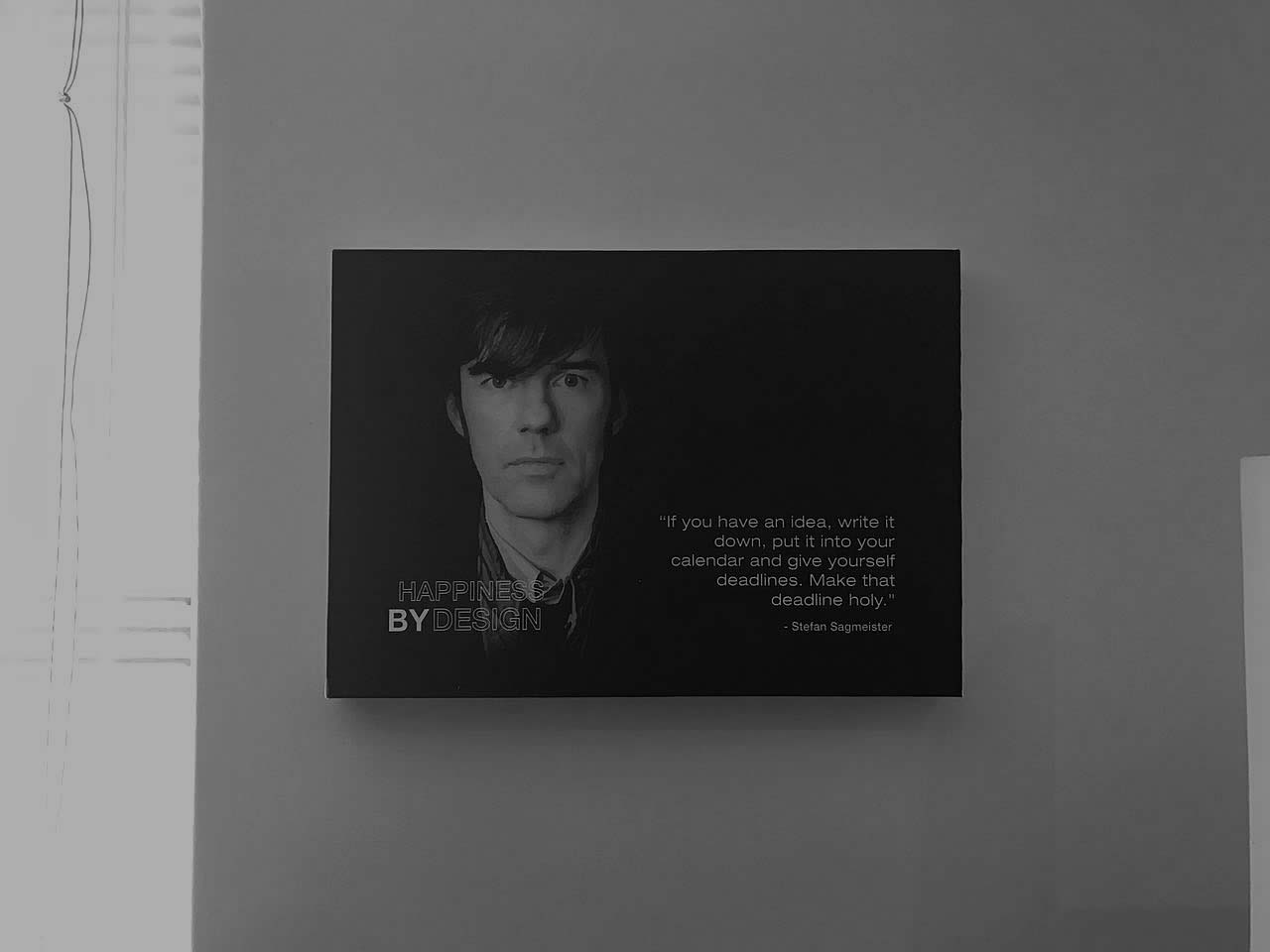 This is another artist canvas example by Vye Graphics, with an inspirational quote from Stefan Sagmeister.