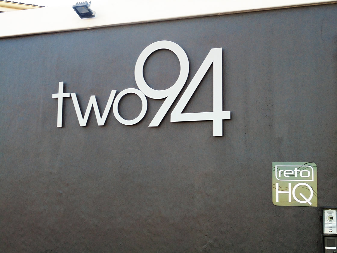 This is a cutout sign design done for the company Two94, by the design company Vye Graphics.