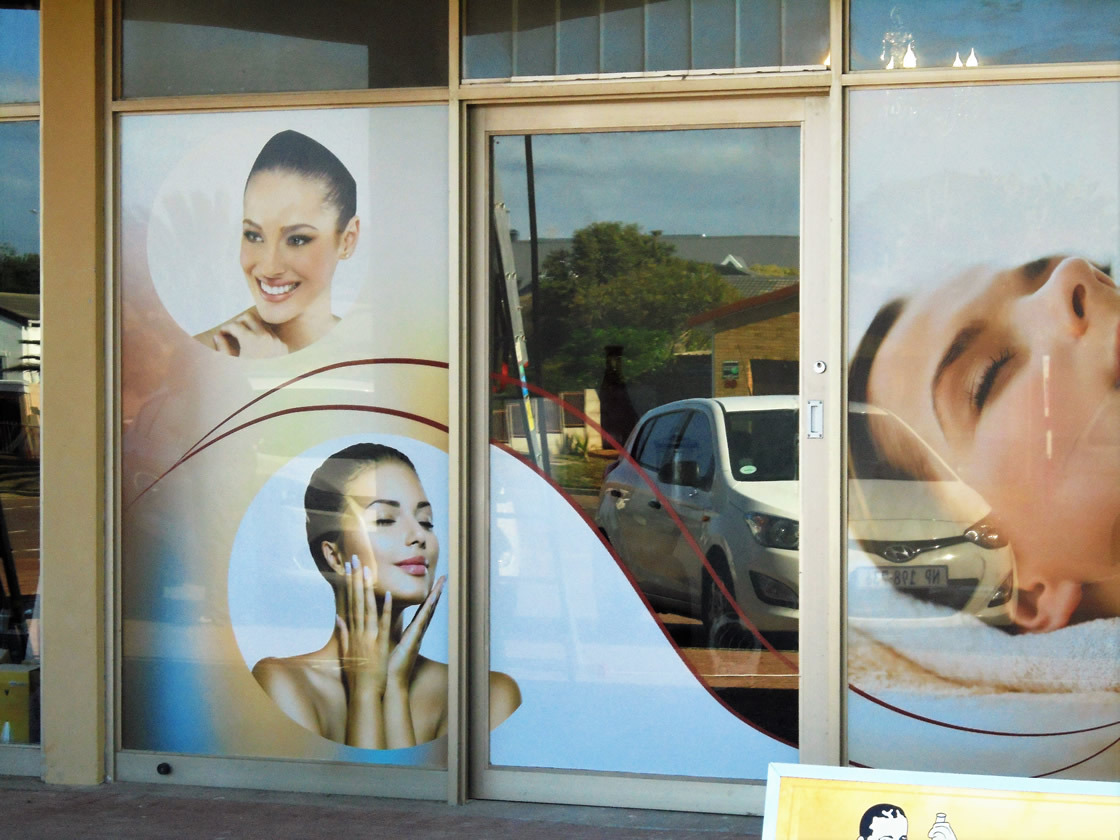 This is an example of a sign created by Vye Graphics that can be put in your shop window, advertising your products.