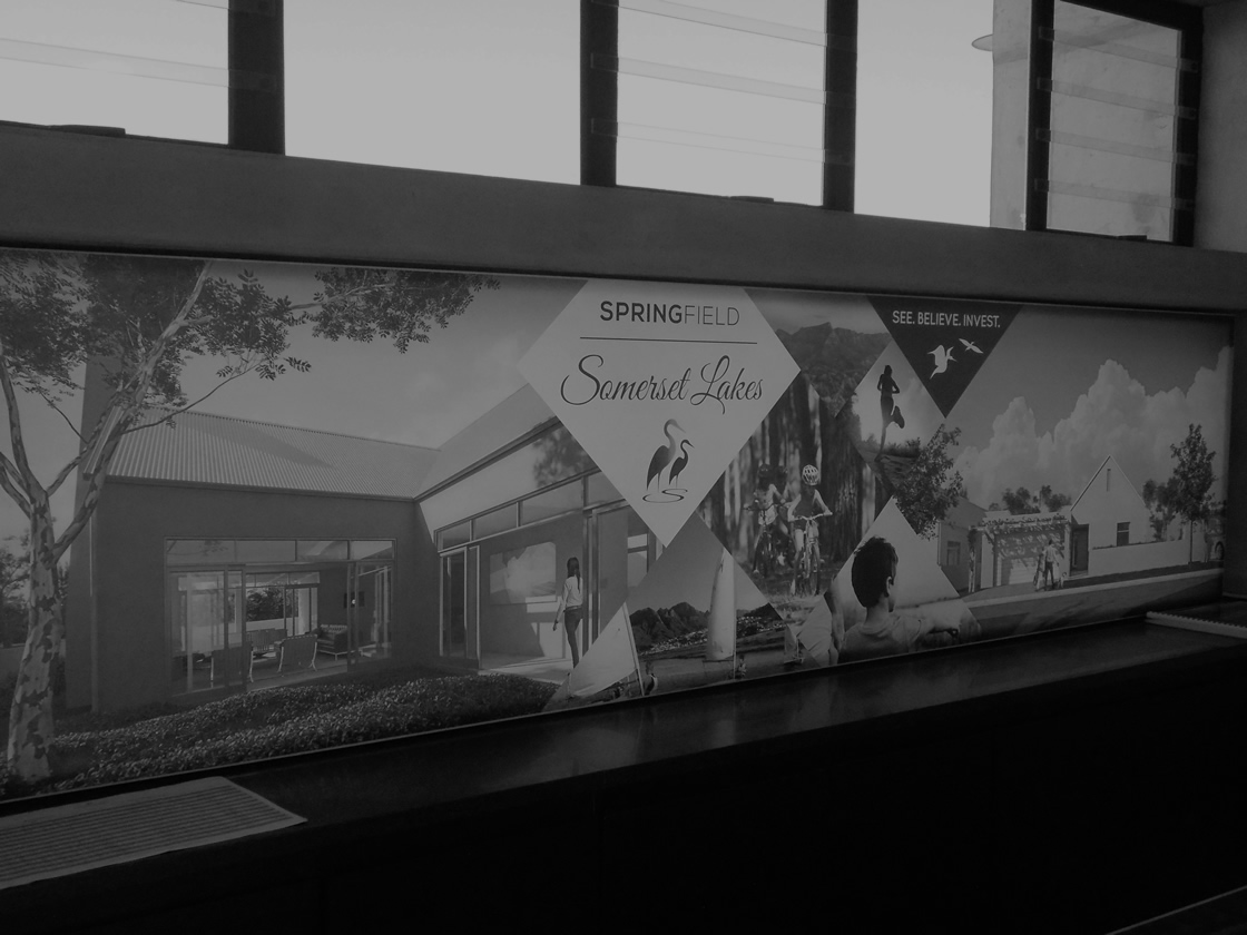 This is an example of an indoor light box, created by Vye Graphics, for the company Springfield Somerset Lakes.