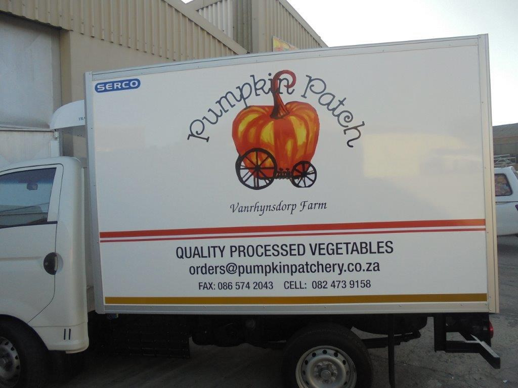 This picture is of a vehicle wrap, done by Vye Graphics, for the company Pumpkin Patch.