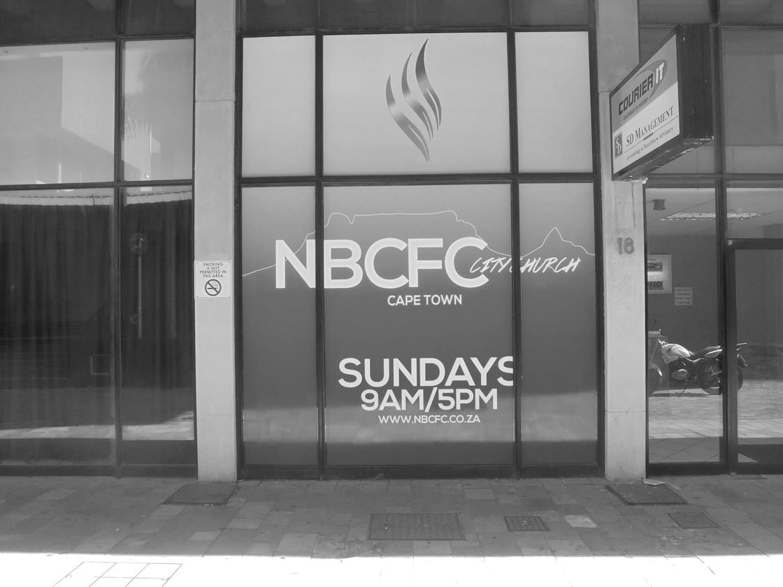 This is an example of the shopfront signs that Vye Graphics has done for the company NBCFC City Church.