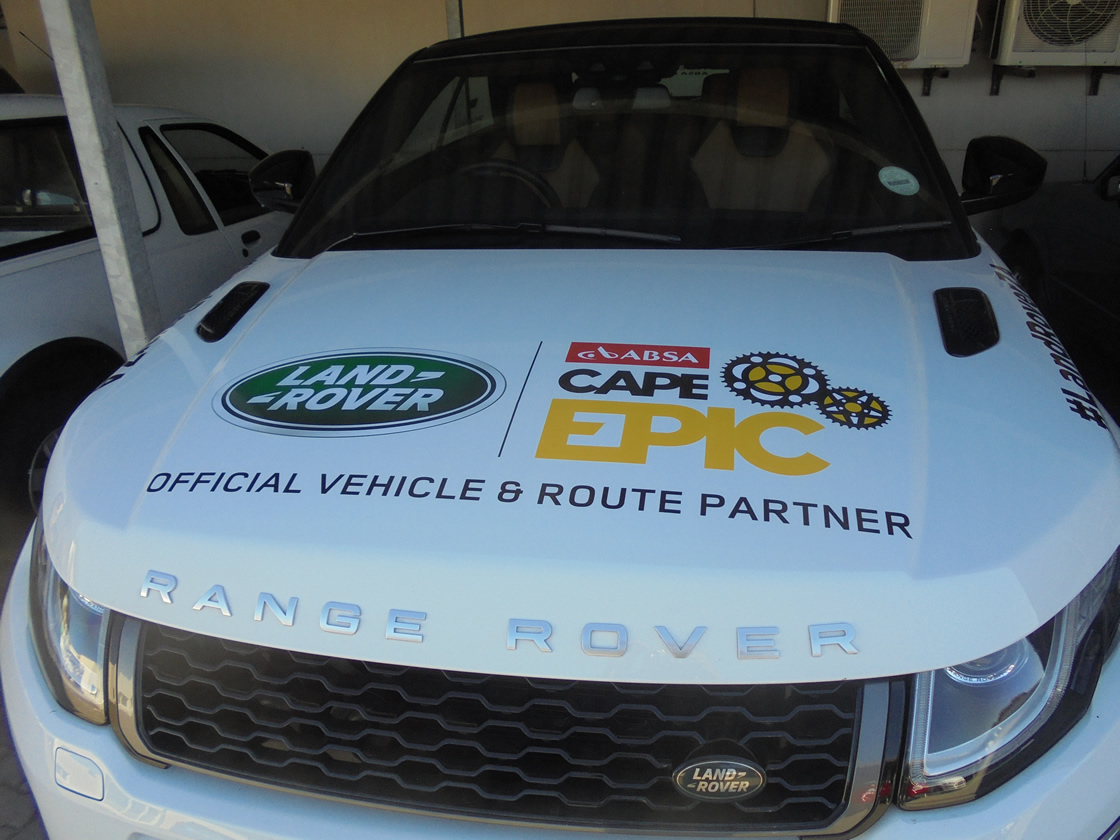 This is another example of the vehicle branding done by Vye Graphics for the company Land Rover, for the Cape Epic Mountain Bike Race.